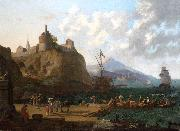 A  mediterranean harbour scene with numerous figures on a que beneath a fort